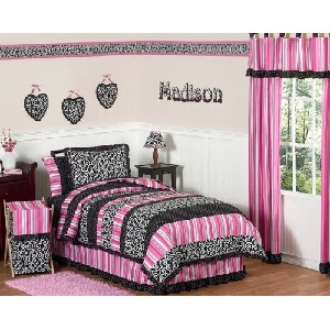 Pink and Black Madison Girls Kids and Teen Bedding 4pc Twin Set