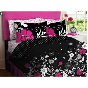 Pink & Black Teen Girls Queen Comforter & Sheet Set