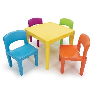 Plastic Childrens Table and 4 Chair Set