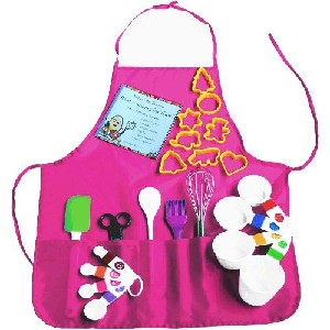Playful Chef 23 Piece Pink Apron Childrens Baking Set