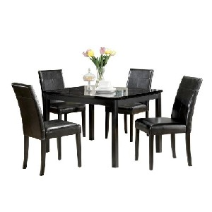 ACME 06778 Portland 5Pc Pack Dining Set, Black Faux Marble Top