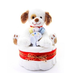 Puppy Themed New Baby Boy Diaper Cake