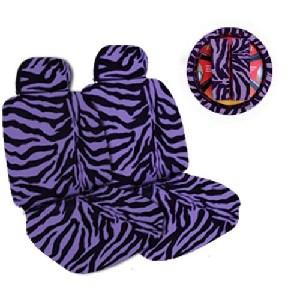 Purple Zebra Car Seat and Headrest Cover Set