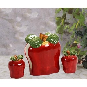 Red Apple Kitchen Napkin Holder Salt Pepper Shakers