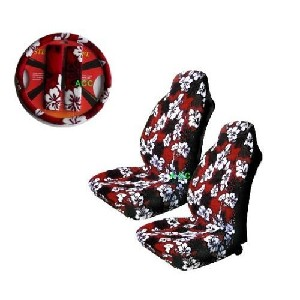 Red Hawaii Hibiscus Floral Print Car Seat Covers