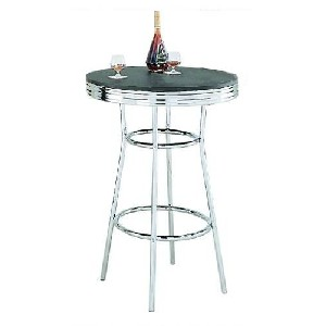 Retro Soda Fountain Style Bar Table w Chrome Plating and Black Top