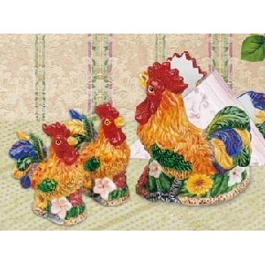 rooster 3d napkin salt pepper shakers