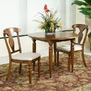 Round Double Drop Leaf Dining Table Set
