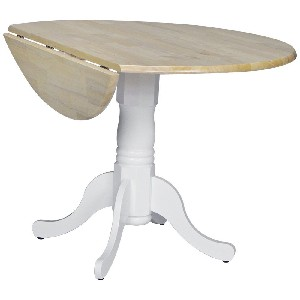 42 inch Round Dual Drop Leaf Pedestal Table in White and Natural