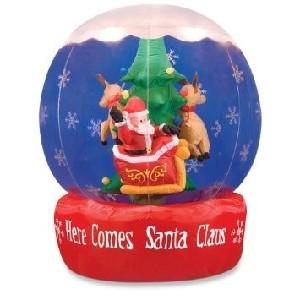 Santa in Sleigh Reindeer and Tree Airblown Globe