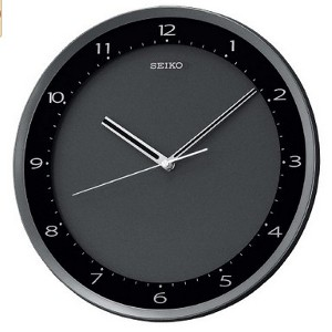Seiko Wall Clock Black Metallic Case