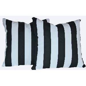 Set of 2 Black and White Stripe Pillows