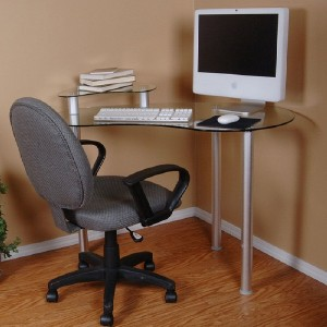 Small Glass Corner Laptop Desk