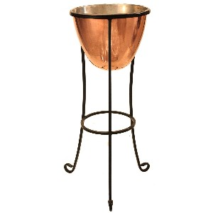 Solid Copper Champagne Cooler with Wrought Iron Stand