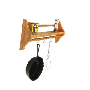 Solid Wood Wall Mount Sautee Pan Rack