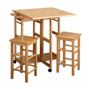 Space Saver Drop Leaf Table With 2 Stools