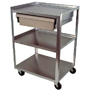 Superieur Cart, Stainless Steel With Economy Drawer, Assembled