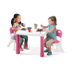 Step2 LifeStyle Kitchen Table and Chairs Set in Pink Plastic