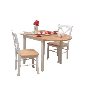TMS 3pc Tiffany Dining Set in White and Natural