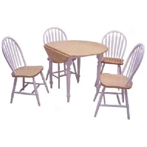 TMS 5 Piece Drop Leaf Dining Set White and Natural