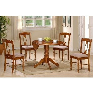 Table Set with Double Drop Leaf Wooden Dining Table and 4 Chairs