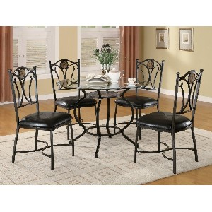 5pc Dining Table & Chairs Set with Ornaments Black Bronze Finish