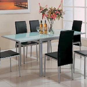 Dining Table with Frosted Glass Top Silver Metal Finish