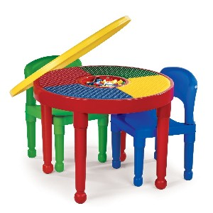 Tot Tutors CT599 2-in-1 Round Plastic Construction Table and 2 Chairs Primary Colors