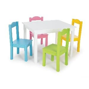 Tot Tutors Kids Table and 4 Chair Set Pastel Wood