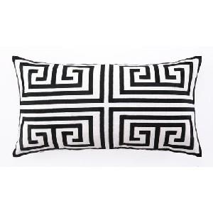 Trina Turk Black Greek Key Embroidered Pillow