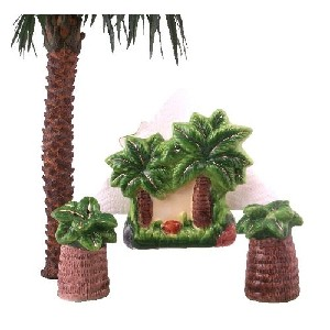 Tropical Palm Tree Napkin and Shaker Table Set