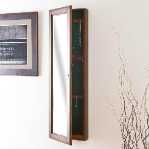 Walnut Wall-Mount Jewelry Mirror Armoire