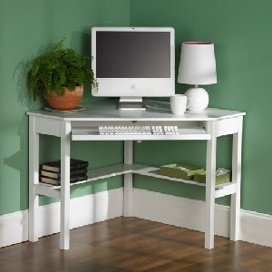 White Corner Shaped Desk with Keyboard Drawer