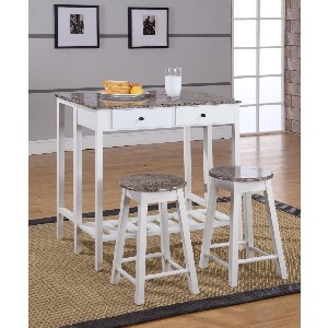 3 Pc. Kings Brand White Finish Wood Table and Stools with Marble Laminate Tops