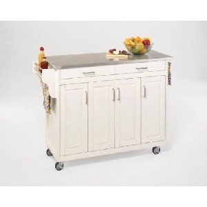 White Finish and Steel Top Kitchen Cart