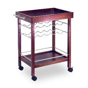 Winsome Wood Bar Tray Cart Espresso Finish