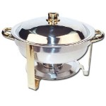 Winware 4 Quart Round Stainless Steel Gold