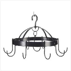 Wrought Iron Pot Rack Half Round with 8 hooks Amish Made