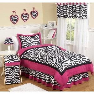 Hot Pink Black and White Funky Zebra Childrens Bedding